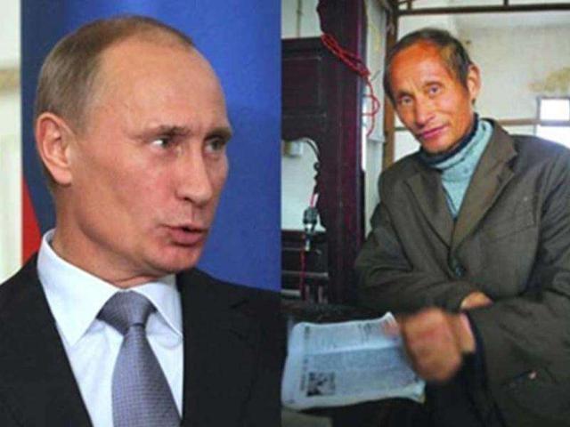 Tổng thống Nga Vladimir Putin (trái) và ông Luo Yuanpin. (Ảnh: SCMP)