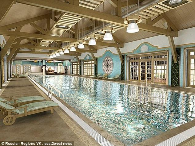 Cận cảnh bể bơi được xây bằng gạch dát vàng bên trong khu nghỉ dưỡng