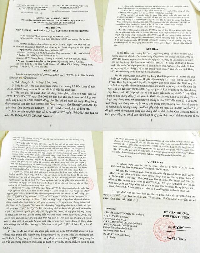 VKS Cấp cao tại TP.HCM có kháng nghị giám đốc thẩm đề nghị hủy bản án dân sự sơ thẩm của TAND quận Gò Vấp và bản án phúc thẩm của TAND TP.HCM đã tuyên đối với bà Đỗ Hồng Lụa trọng vụ giấy nhận nợ 2,5 tỷ đồng.