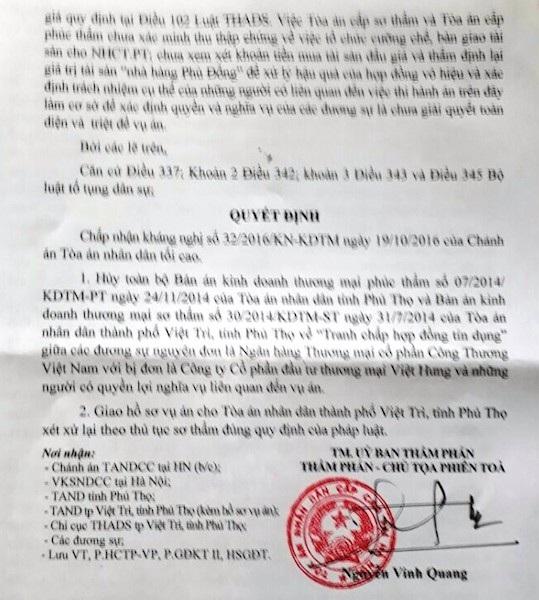 Uỷ ban thẩm phán TAND Cấp cao tại Hà Nội chính thức tuyên huỷ 2 bản án sai phạm trong vụ cưỡng chế thi hành án trái luật chưa từng có trong tiền lệ ngành tư pháp tỉnh Phú Thọ.