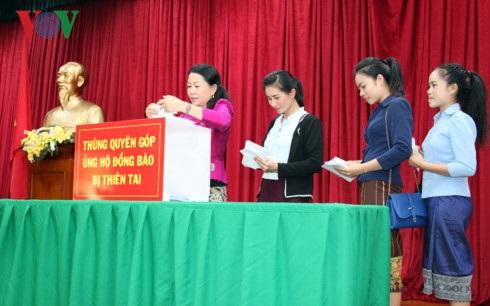 Hoạt động quyên góp do Đại sứ quán Việt Nam tổ chức nhằm động viên chia sẻ với những thiệt hại nặng nề do thiên tai gây ra tại cả Việt Nam và Lào.