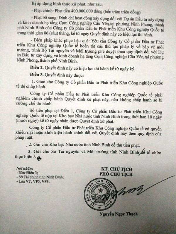 Quyết định xử phạt 400 triệu đồng của UBND tỉnh Ninh Bình đối với Công ty CP Đầu tư phát triển Khu công nghiệp quốc tế vì xây dựng CCN Cầu Yên không có ĐTM.