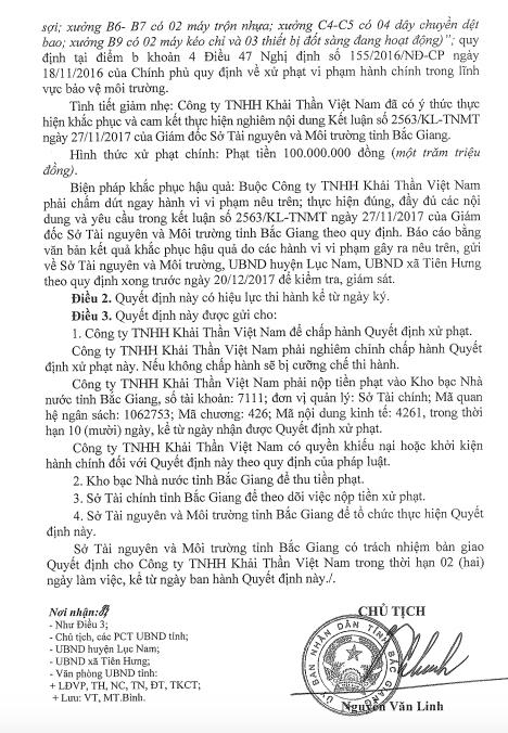Phạt tiếp doanh nghiệp ngoại bức tử môi trường, chống lệnh Chủ tịch tỉnh Bắc Giang.