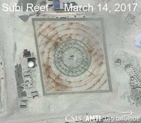 Ảnh vệ tinh ngày 14/3/2017 chụp hệ thống radar tần số cao phi pháp của Trung Quốc trên đá Xu Bi thuộc quần đảo Trường Sa của Việt Nam (Ảnh: CSIS)