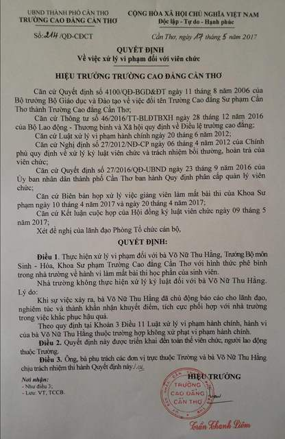 Quyết định không kỷ luật giảng viên do hiệu trưởng nhà trường Trần Thanh Liêm ký ngày 17/5/5017