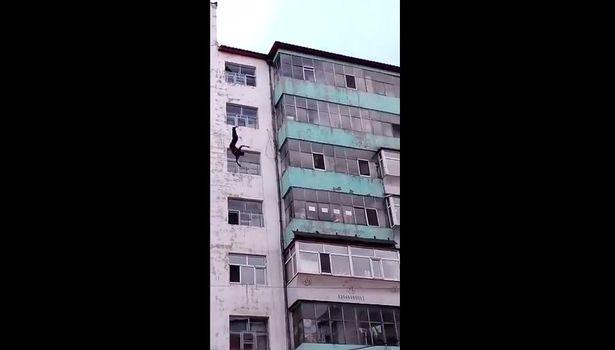 Clip người đàn ông rơi từ sân thượng tòa nhà 7 tầng xuống không chết - 1
