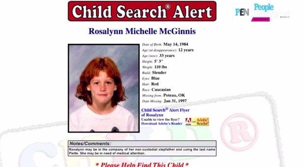 Hồ sơ tìm trẻ lạc của Rosalyn bị mất tích năm 1997