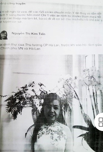 Dòng trạng thái trên facebook cá nhân của BS Truyện nói xấu Bộ trưởng Nguyễn Thị Kim Tiến mà sau đó đã bị xử phạt