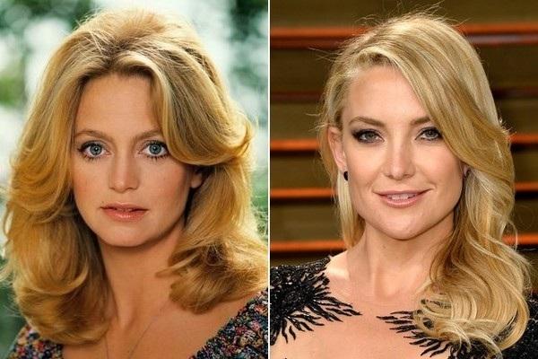 Huyền thoại điện ảnh Goldie Hawn (trái) từng là biểu tượng nhan sắc của Hollywood cách đây 30 40 năm và giờ đây con gái cưng của bà - nữ diễn viên Kate Hudson cũng không phải là ngoại lệ. Kate Hudson thừa hưởng hết nét đẹp của người mẹ nổi tiếng. Cô rất tự hào vì mẹ đã ngoài 70 vẫn trẻ đẹp hút hồn. Nữ diễn viên 38 tuổi đi đâu cũng đưa mẹ theo cùng và nói đùa rằng cô và mẹ chỉ như 2 chị em!