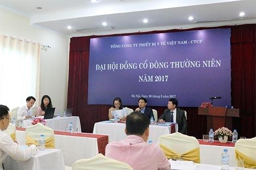 Đại hội đồng cổ đông thường niên năm 2017 của Tổng công ty Thiết bị Y tế Việt Nam - CTCP (VINAMED). Ảnh: Vietnamnet.