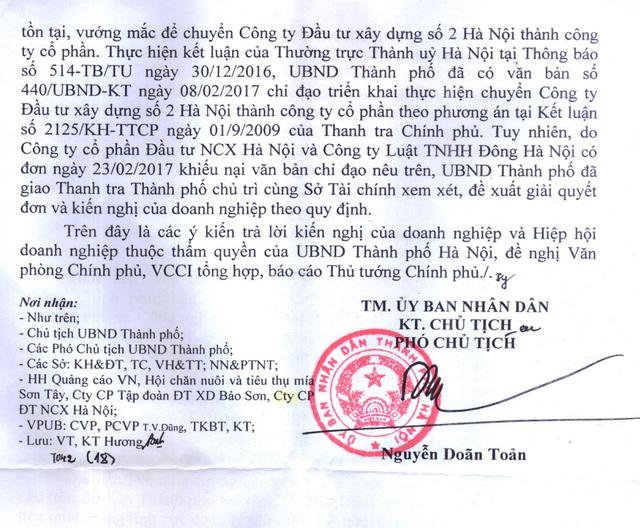 """TP Hà Nội báo cáo Chính phủ về vụ cổ phần hoá """"vịt trời"""" tại HACINCO."""