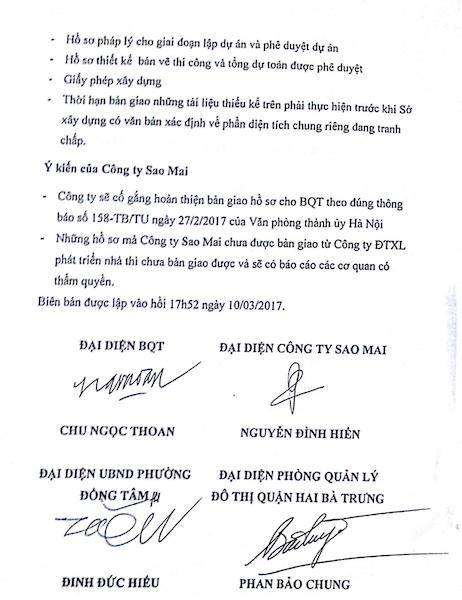 Biên bản bàn giao giữa Công ty Sao mai và đại diện Ban quản trị toà nhà.