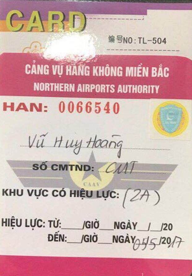 Thẻ an ninh được cấp cho ông Vũ Huy Hoàng