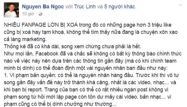 Bài đăng của chuyên gia truyền thông Nguyễn Bá Ngọc nhằm giải thích cho nguyên nhân đứng sau hàng loạt vụ biến mất của các Fanpage.