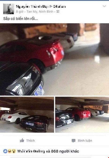 Dòng trạng thái trên Facebook Sắp có biến lớn rồi kèm những bức ảnh siêu xe đồ chơi gắn biển số xanh tỉnh Cần Thơ đang gây tranh cãi.