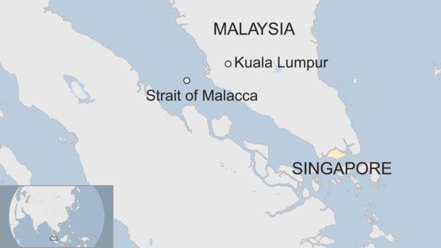 Vụ tai nạn xảy ra gần eo biển Malacca (Đồ họa: BBC)