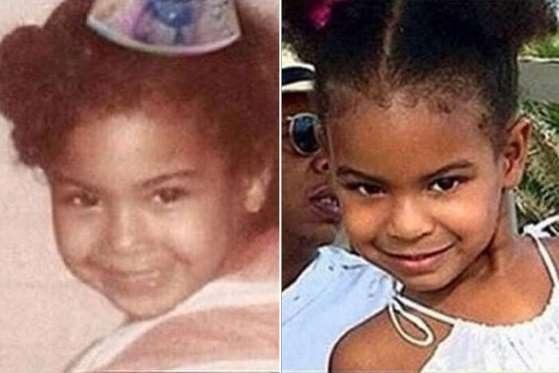 Trên trang Instagram, bà ngoại - Tina Knowles tự hào khoe bức ảnh so sánh cô cháu gái Blue Ivy, 5 tuổi, với con gái ruột, Beyonce Knowles khi còn nhỏ. Nhiều người đều thừa nhận, cô bé Blue Ivy rất giống Beyonce và hứa hẹn sẽ là một ngôi sao xinh đẹp trong tương lai.