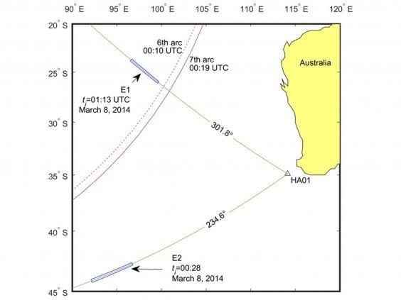 Hai sự kiện (E1 và E2) thu được vào ngày 8/3/2014, giữa giờ 0h UTC và 02h UTC (DavideCrivelli/Usama Kadri).