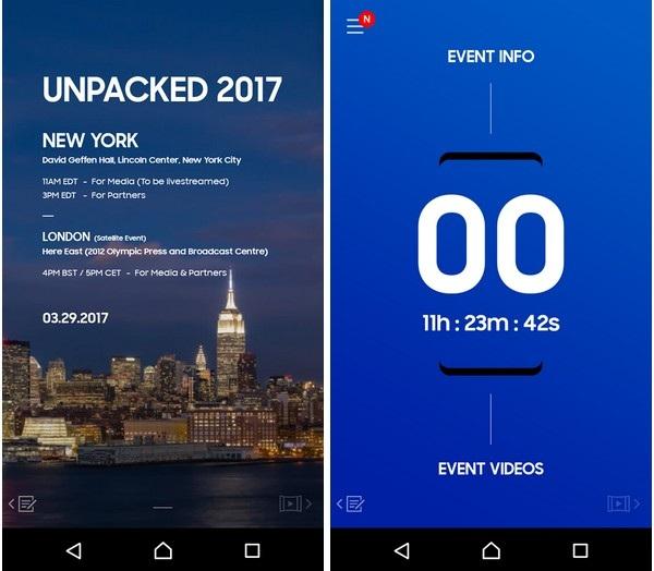 Giao diện đếm ngược trên ứng dụng để đến thời điểm diễn ra sự kiện đặc biệt của Samsung