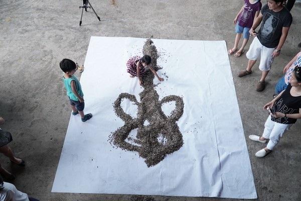 Hạt hướng dương được đổ ra tấm vải trắng trước khi được bắt đầu tạo hình
