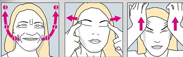 Minh họa cho bài tập Nâng khóe miệng, xóa nếp nhăn khóe mắt và là phẳng trán,