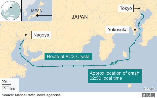 Vụ va chạm xảy ra ngoài khơi Nhật Bản. Tàu hàng Philippines được cho là đã quay đầu đột ngột trước vụ va chạm. (Ảnh: BBC)