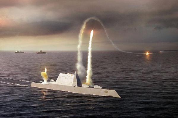 Đồ họa mô phỏng tàu khu trục DDG 1000 lớp USS Zumwalt của Mỹ (Ảnh: Sputnik)