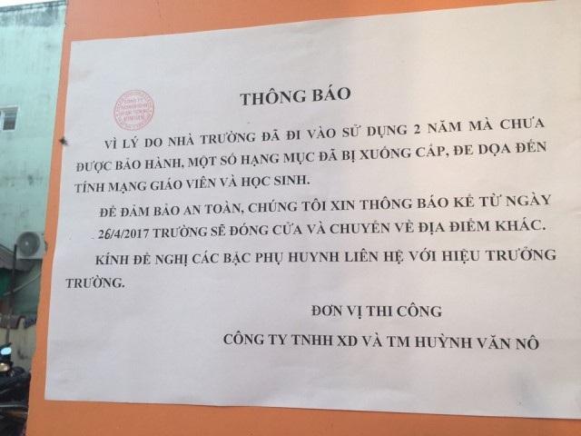 Thông báo khóa cửa trường của Công ty Huỳnh Văn Nô