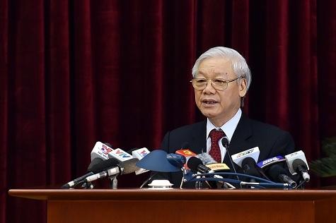 Tổng Bí thư Nguyễn Phú Trọng phát biểu bế mạc Hội nghị (Ảnh: VGP)