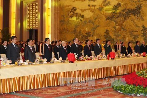 Tổng bí thư Nguyễn Phú Trọng dự lễ Chào mừng kỷ niệm 67 năm thiết lập quan hệ ngoại giao Việt Nam-Trung Quốc - (Ảnh TTXVN)