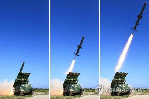 Bức ảnh do truyền thông Triều Tiên công bố ngày 9/6 chụp vụ phóng thử tên lửa chống hạm mới (Ảnh: Yonhap)