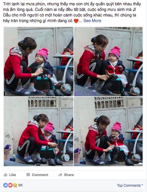 Hình ảnh người phụ nữ và đứa bé đánh giày trên phố gợi lên nhiều cảm xúc.