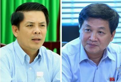 Ông Nguyễn Văn Thể (trái) và ông Lê Minh Khái được đề nghị phê chuẩn làm Bộ trưởng Giao thông vận tải và Tổng Thanh tra Chính phủ