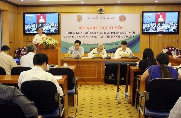 Một hội nghị trực tuyến về triển khai thi hành văn bản pháp luật liên quan đến thi hành án mới đây của Tổng cục Thi hành án dân sự (Bộ Tư pháp).
