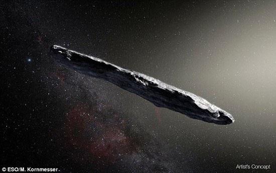 Một vật thể có hình dạng giống điếu xì gà khổng lồ được phát hiện trong không gian tháng trước là thiên thạch đến từ một hệ Mặt Trời khác. Ảnh: dailymail.co.uk