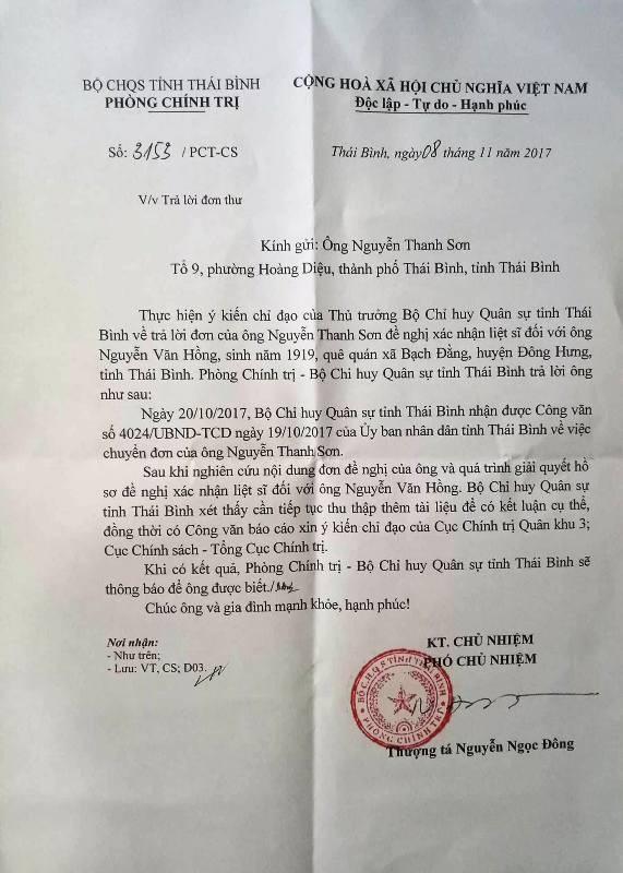 Thông báo số 3153/PCT-CS của Bộ CHQS tỉnh Thái Bình về việc trả lời đơn thư