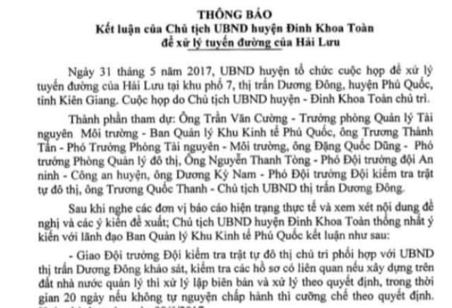 Thông báo chỉ đạo của Chủ tịch huyện Phú Quốc yêu cầu kiểm tra, tiến hành tháo dỡ công trình lấn chiếm của Công ty Hải Lưu. Nếu doanh nghiệp không tự tháo dỡ thì cưỡng chế theo quyết định.