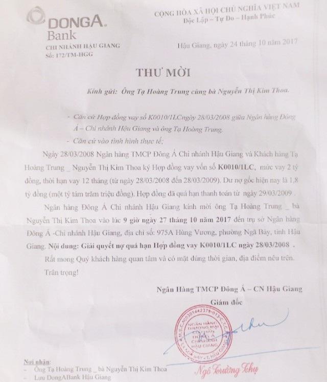 Ngân hàng mời gia đình bà Nguyễn Kim Xuân đến giải quyết nợ quá hạn...
