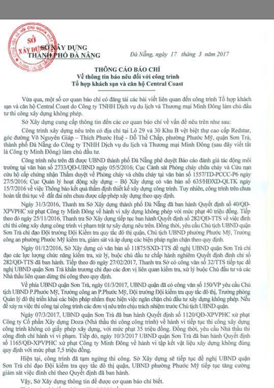 Thông cáo báo chí của Sở Xây dựng Đà Nẵng