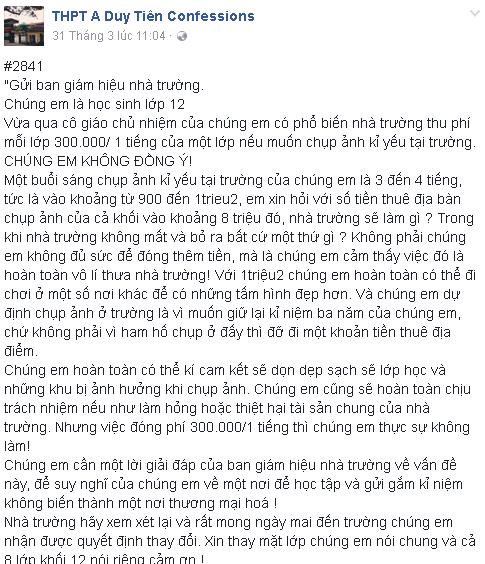 Bức thư của học sinh đăng tải trên trang cfs của Trường THPT A Duy Tiên (Hà Nam)