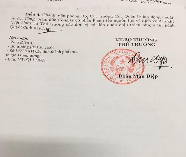 Quyết định thu hồi giấy phép hoạt động dịch vụ đưa người lao động đi làm việc ở nước ngoài của Công ty cổ phần Phát triển nguồn lực và dịch vụ dầu khí Việt Nam (viết tắt là Cty Petromanning).