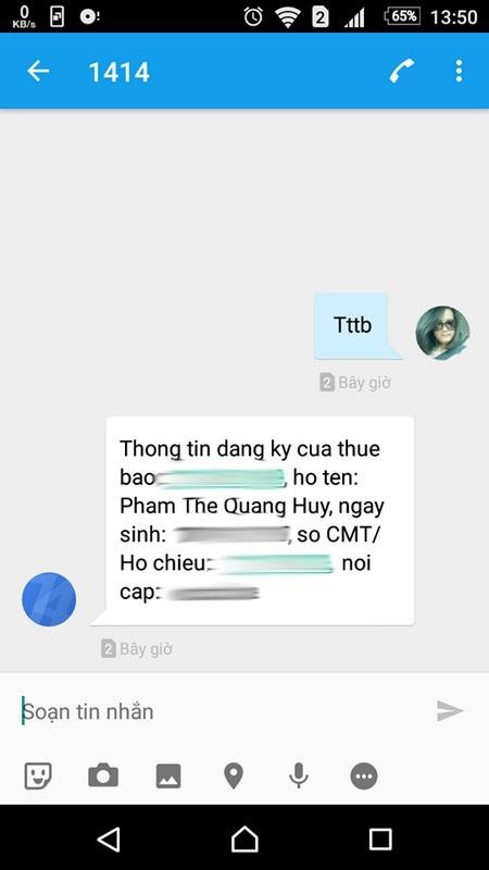 Tin nhắn nhà mạng trả lại khi người dùng nhắn tin để kiểm tra thông tin thuê bao