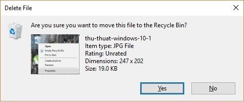 Kích hoạt hộp thoại nhắc nhở để tránh xóa nhầm file trên Windows 10 - 3