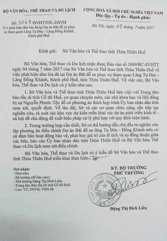 Văn bản Thứ trưởng Bộ VH,TT&DL gửi Sở VH&TT tỉnh Thừa Thiên Huế về việc có thể điều chỉnh Dự án bãi đỗ xe để phát huy giá trị của di tích