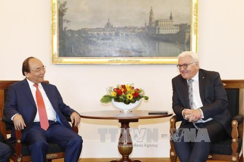 Thủ tướng Nguyễn Xuân Phúc hội kiến Tổng thống Đức Steinmeier (ảnh: TTXVN)