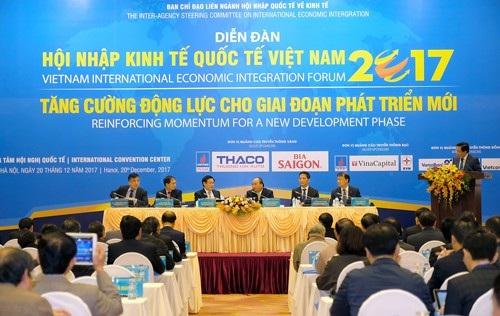 Thủ tướng Nguyễn Xuân Phúc cùng Phó Thủ tướng Vương Đình Huệ tham dự Diễn đàn Hội nhập Kinh tế Quốc tế Việt Nam 2017