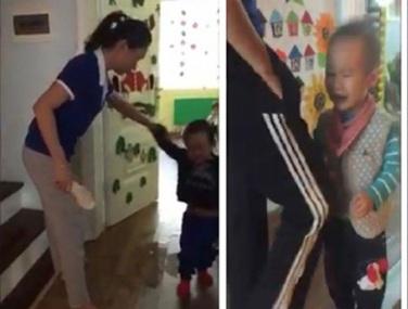 Hai cô giáo, một người dùng dép tát vào mặt, một cô khác dùng gối thúc vào bụng bé mầm non. (ảnh từ clip)