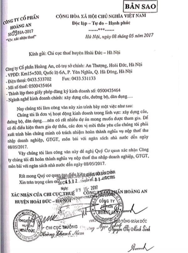 HSDT của Liên danh chỉ cung cấp công văn của Chi cục Thuế huyện Hoài Đức (Hà Nội) xác nhận Công ty Hoàng An đã hoàn thành nghĩa vụ thuế đến ngày 8/5/2017.