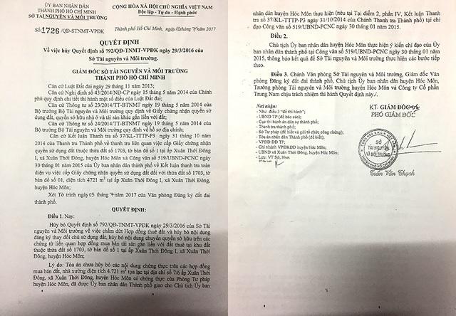 Xác định tòa chưa hủy bỏ các nội dung chứng thực trên các hợp đồng mua bán đất, nhà xưởng diện tích hơn 4.700m2 có chứng thực của Phòng Tư pháp huyện…Sở Tài nguyên và Môi trường TP. HCM đã ra quyết định hủy bỏ quyết định ban hành trái với quy định pháp luật trước đó.