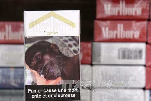 Cảnh báo về tác hại của hút thuốc lá bên ngoài vỏ bao thuốc bày bán tại một cửa hàng ở Dakar, Senegal.Ảnh: AFP/TTXVN.